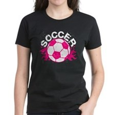 Hot Pink Soccer Flames Tee