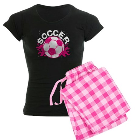 Hot Pink Soccer Flames Women's Dark Pajamas