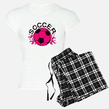 Hot Pink Soccer Flames Pajamas