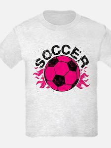 Hot Pink Soccer Flames T-Shirt