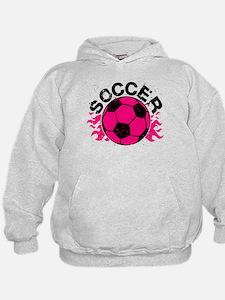Hot Pink Soccer Flames Hoodie