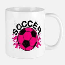 Hot Pink Soccer Flames Mug
