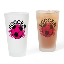 Hot Pink Soccer Flames Drinking Glass