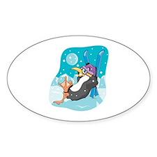 Skiier Penguin Oval Decal