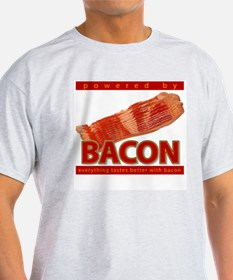 """""""Powered by BACON"""" Ash Grey T-Shirt"""