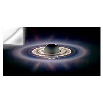 Saturn silhouetted, Cassini image Wall Decal