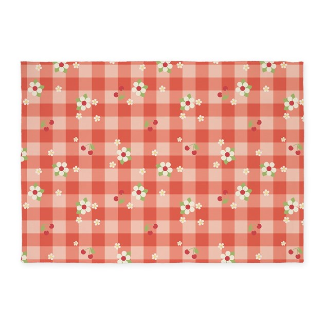 Gingham Rug: Flower Gingham Red 5'x7'Area Rug By Admin_CP45405617