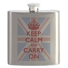 Keep Calm And Carry On (Light Union Jack) Flask