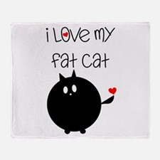 I Love My Fat Cat Throw Blanket