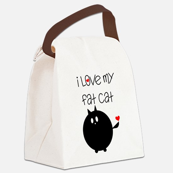 I Love My Fat Cat Canvas Lunch Bag