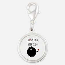 I Love My Fat Cat Silver Round Charm