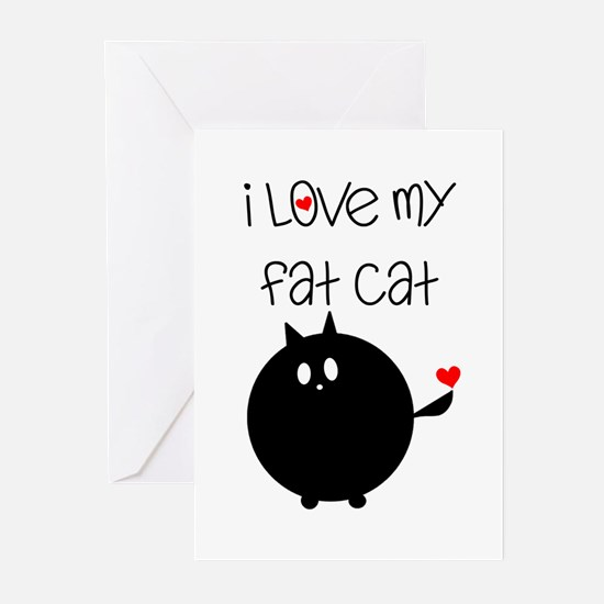 I Love My Fat Cat Greeting Cards (Pk of 10)