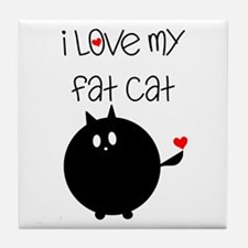 I Love My Fat Cat Tile Coaster