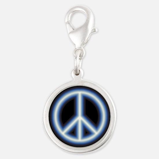 Blue Peace Symbol Silver Round Charm