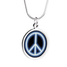 Blue Peace Symbol Silver Round Necklace