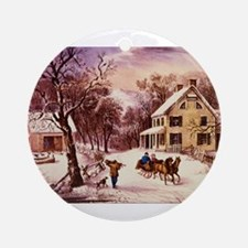 Curry Ives American Homestead Winter Ornament (Rou