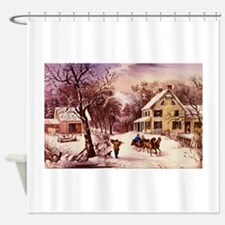 Curry Ives American Homestead Winter Shower Curtai
