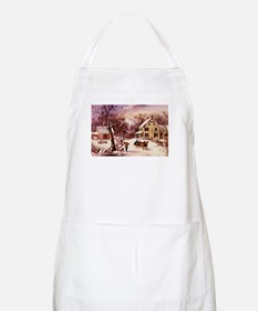 Curry Ives American Homestead Winter Apron