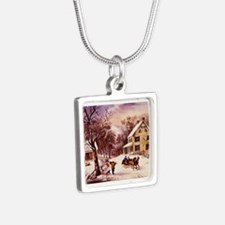 Curry Ives American Homestead Winter Silver Square