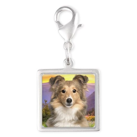 Sheltie Meadow Silver Square Charm