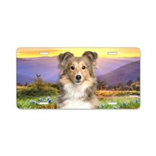 Sheltie Meadow Aluminum License Plate