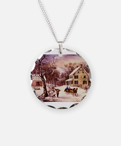 Curry Ives American Homestead Winter Necklace