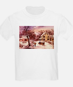 Curry Ives American Homestead Winter T-Shirt