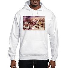 Curry Ives American Homestead Winter Hoodie