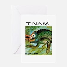 1983 Vietnam Chameleon Postage Stamp Greeting Card