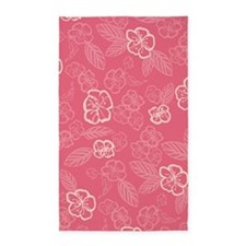 Flower Tropical Simple Pink 3'x5' Area Rug