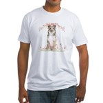 Sheltie Flowers Fitted T-Shirt