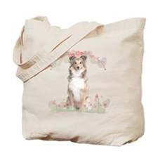 Sheltie Flowers Tote Bag