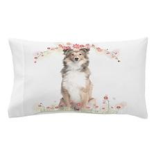 Sheltie Flowers Pillow Case