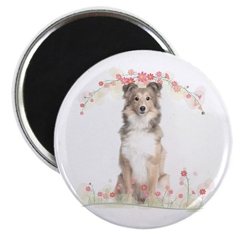 Sheltie Flowers Magnet