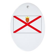 Jersey Flag Picture Oval Ornament
