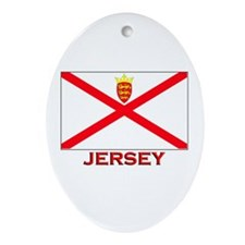 Jersey Flag Gear Oval Ornament