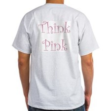 Pink Ribbon (front & back) Ash Grey T-Shirt