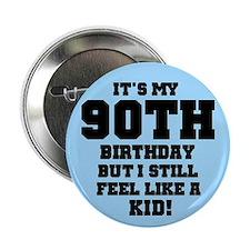 Blue 90th Birthday Button