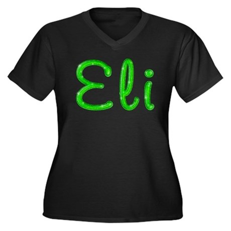 Eli Glitter Gel Women's Plus Size V-Neck Dark T-Sh