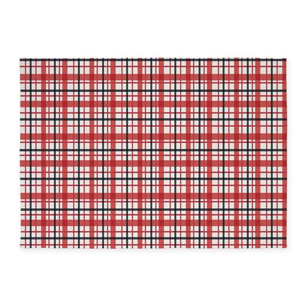 Plaid Basic Red 5'x7'Area Rug By Admin_CP45405617