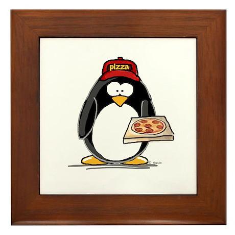 Pizza Penguin Framed Tile