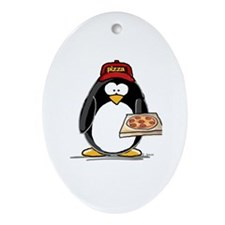 Pizza Penguin Oval Ornament