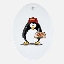 Pizza Penguin Oval Ornament