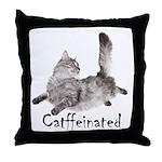 Catffeinated Throw Pillow
