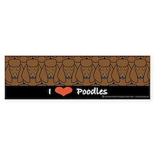 I Love Brown Poodles Bumper Bumper Sticker