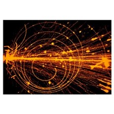 Streamer chamber photo of oxygen ion collision Canvas Art