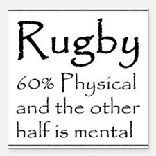 "Rugby: 60% Physical Square Car Magnet 3"" x 3"""