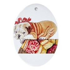 Cute English bull dog Ornament (Oval)