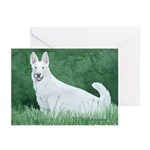 6 White German Shepherd Greeting Cards