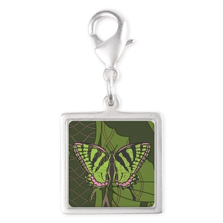 Celtic Swallowtail Silver Square Charm